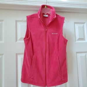 Columbia hot pink fleece vest, EUC, size small